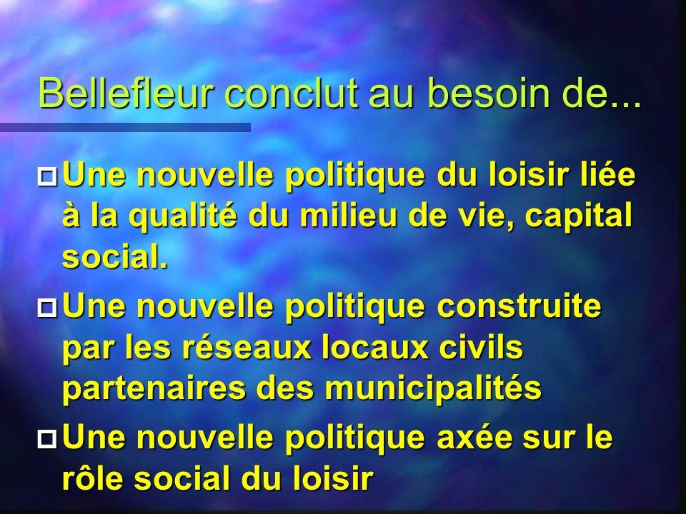 Bellefleur constate 4 La réduction du rôle de l État 4 La désintégration des interventions de l État 4 La réduction de la maîtrise d œuvre municipale