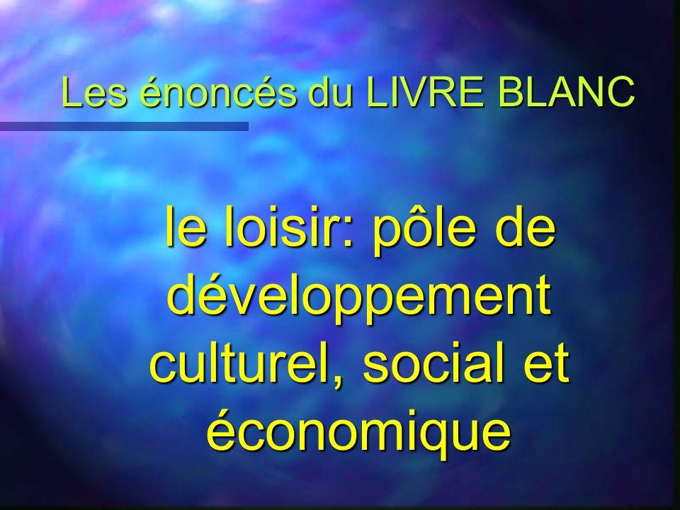 Le loisir : l autre richesse ? n Quelles sont l importance et la valeur du loisir aux plans social, culturel et économique ? n Quelle est sa contribut