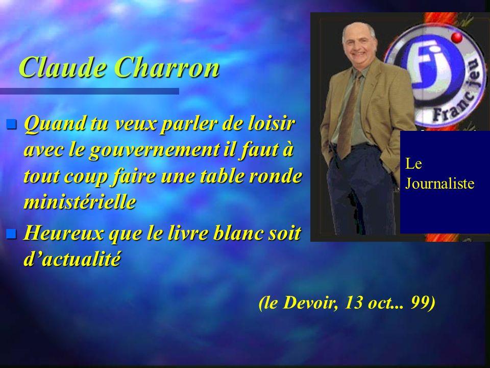 Claude Charron n Le loisir au cœur de la qualité de vie des québécois (préface: 1979). n Le loisir irradie…toi...sans les habits du travail. n Le lois