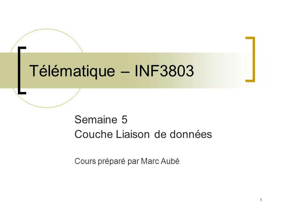 1 Télématique – INF3803 Semaine 5 Couche Liaison de données Cours préparé par Marc Aubé