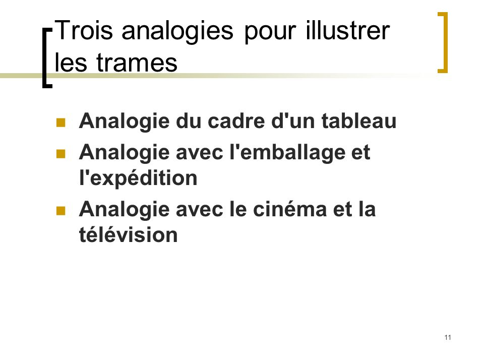 11 Trois analogies pour illustrer les trames Analogie du cadre d'un tableau Analogie avec l'emballage et l'expédition Analogie avec le cinéma et la té