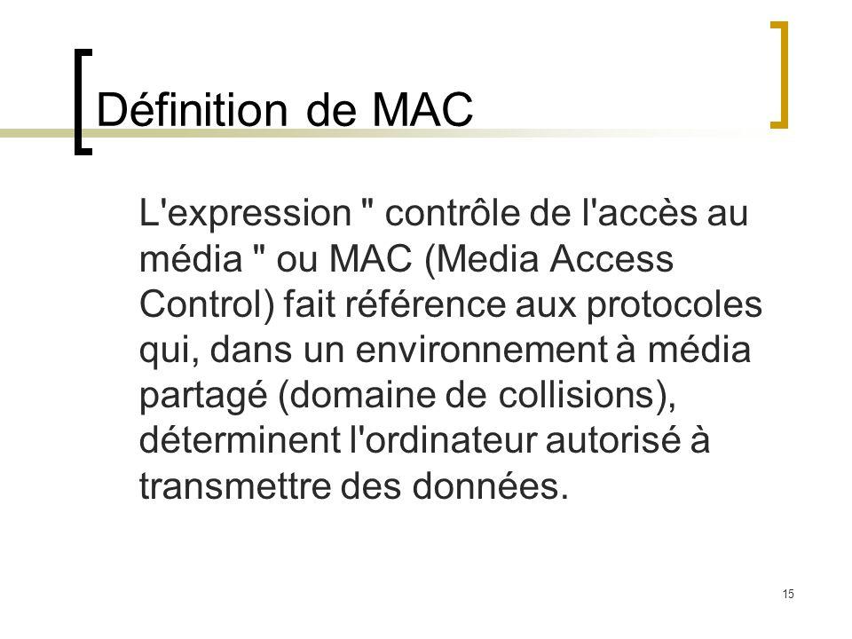 15 Définition de MAC L'expression