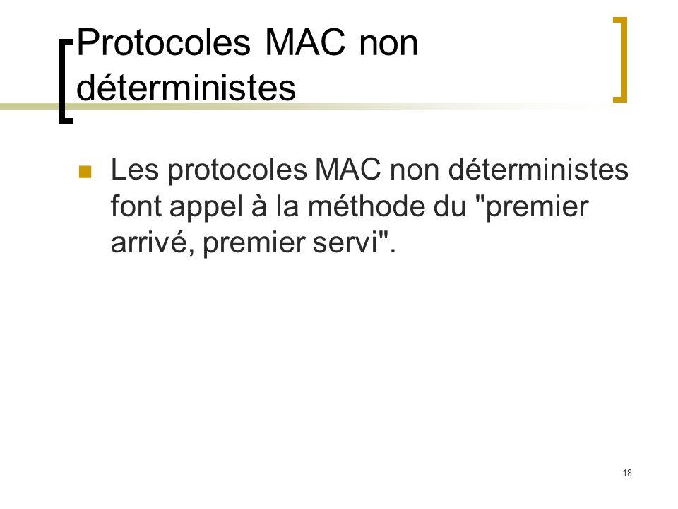 18 Protocoles MAC non déterministes Les protocoles MAC non déterministes font appel à la méthode du