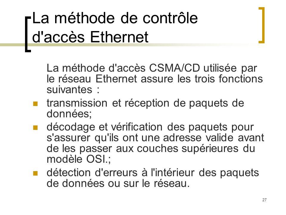 27 La méthode de contrôle d'accès Ethernet La méthode d'accès CSMA/CD utilisée par le réseau Ethernet assure les trois fonctions suivantes : transmiss