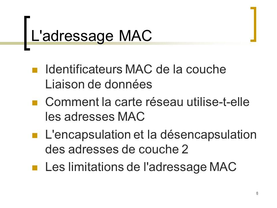 8 L'adressage MAC Identificateurs MAC de la couche Liaison de données Comment la carte réseau utilise-t-elle les adresses MAC L'encapsulation et la dé