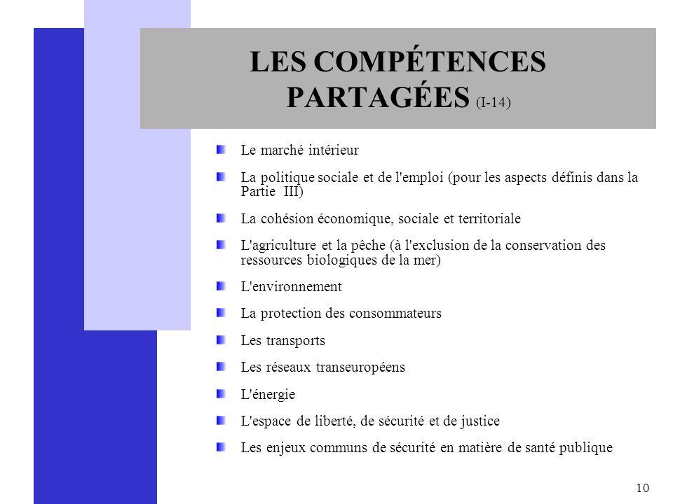 10 LES COMPÉTENCES PARTAGÉES (I-14) Le marché intérieur La politique sociale et de l'emploi (pour les aspects définis dans la Partie III) La cohésion