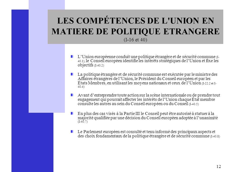 12 LES COMPÉTENCES DE L'UNION EN MATIERE DE POLITIQUE ETRANGERE (I-16 et 40) LUnion européenne conduit une politique étrangère et de sécurité commune