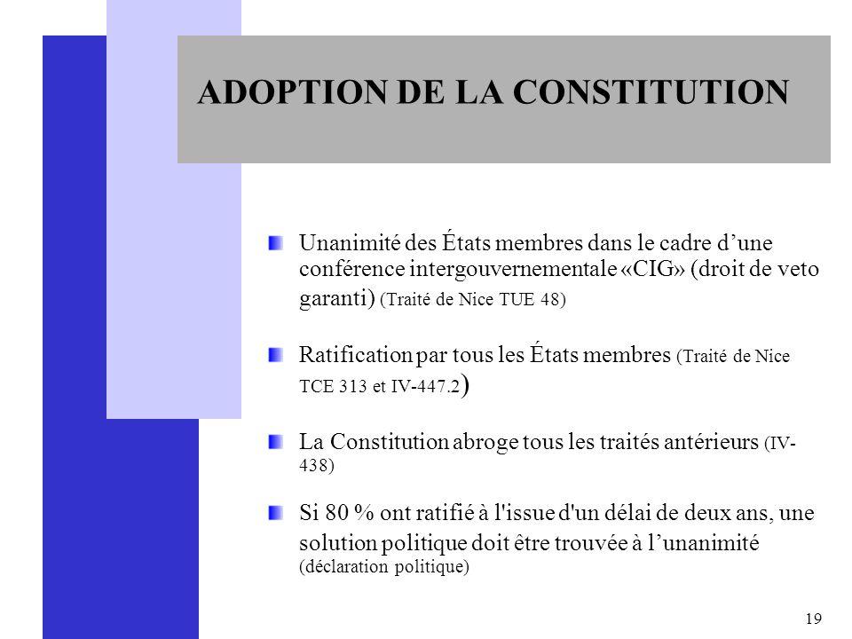 19 ADOPTION DE LA CONSTITUTION Unanimité des États membres dans le cadre dune conférence intergouvernementale «CIG» (droit de veto garanti) (Traité de