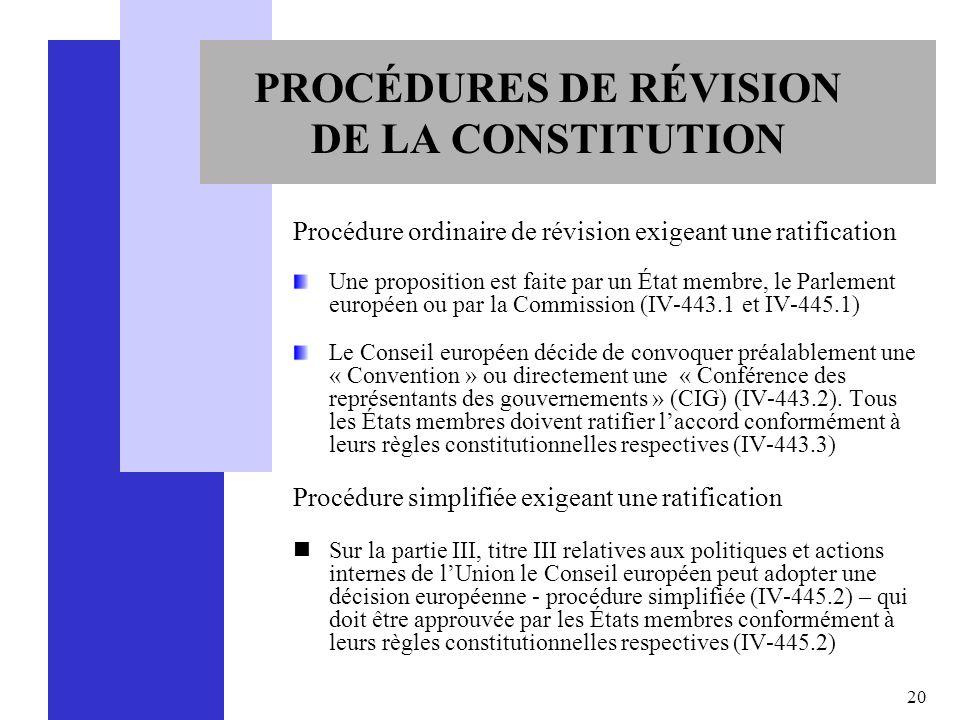 20 PROCÉDURES DE RÉVISION DE LA CONSTITUTION Procédure ordinaire de révision exigeant une ratification Une proposition est faite par un État membre, l