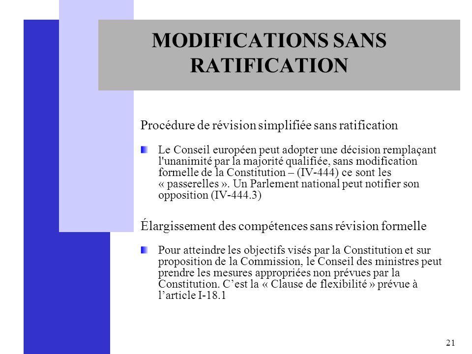 21 MODIFICATIONS SANS RATIFICATION Procédure de révision simplifiée sans ratification Le Conseil européen peut adopter une décision remplaçant l'unani