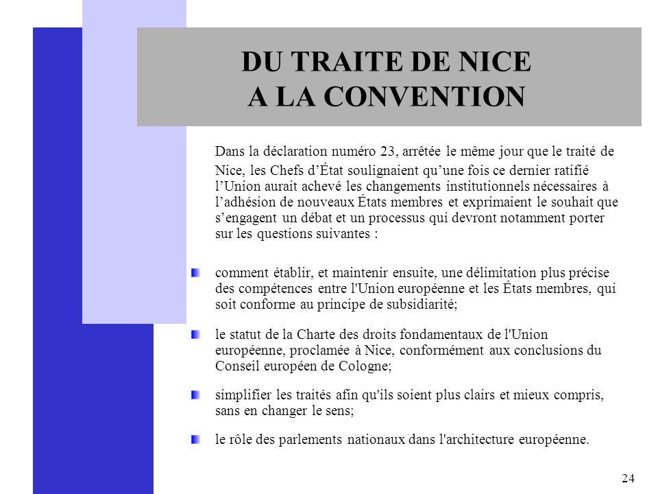 24 DU TRAITE DE NICE A LA CONVENTION Dans la déclaration numéro 23, arrêtée le même jour que le traité de Nice, les Chefs dÉtat soulignaient quune foi
