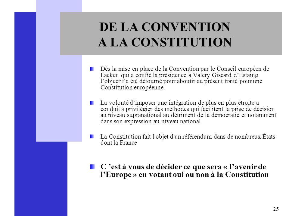 25 DE LA CONVENTION A LA CONSTITUTION Dès la mise en place de la Convention par le Conseil européen de Laeken qui a confié la présidence à Valery Gisc