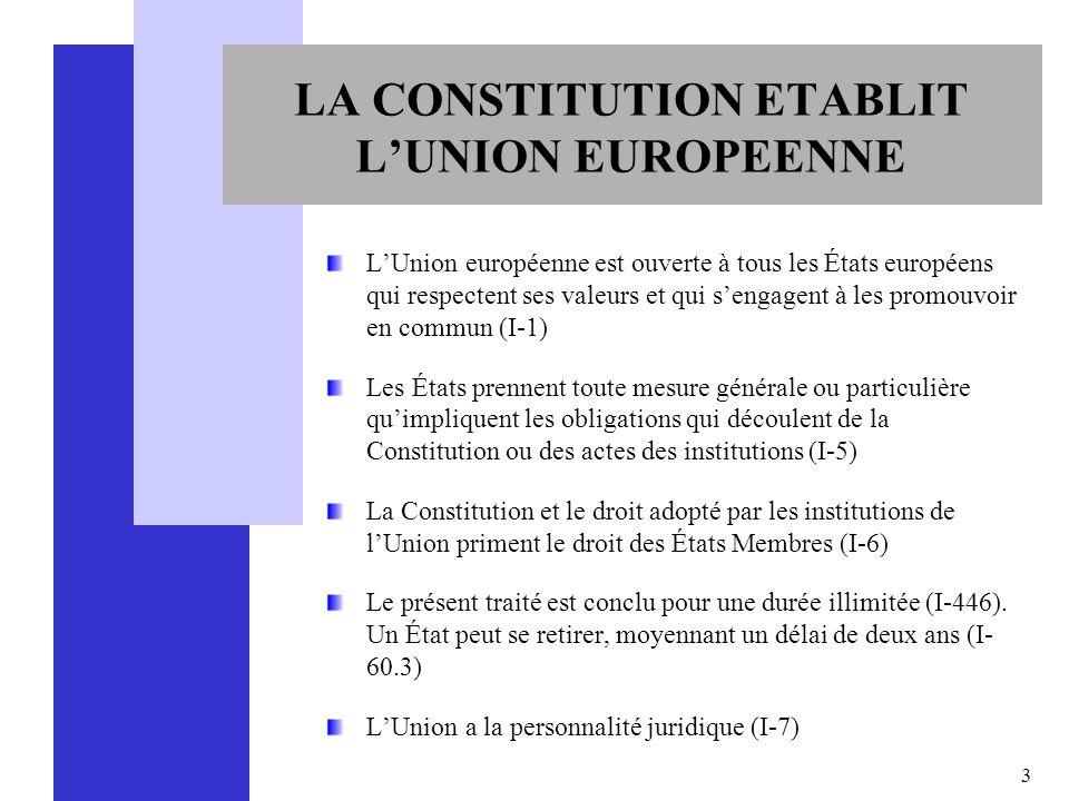 3 LA CONSTITUTION ETABLIT LUNION EUROPEENNE LUnion européenne est ouverte à tous les États européens qui respectent ses valeurs et qui sengagent à les