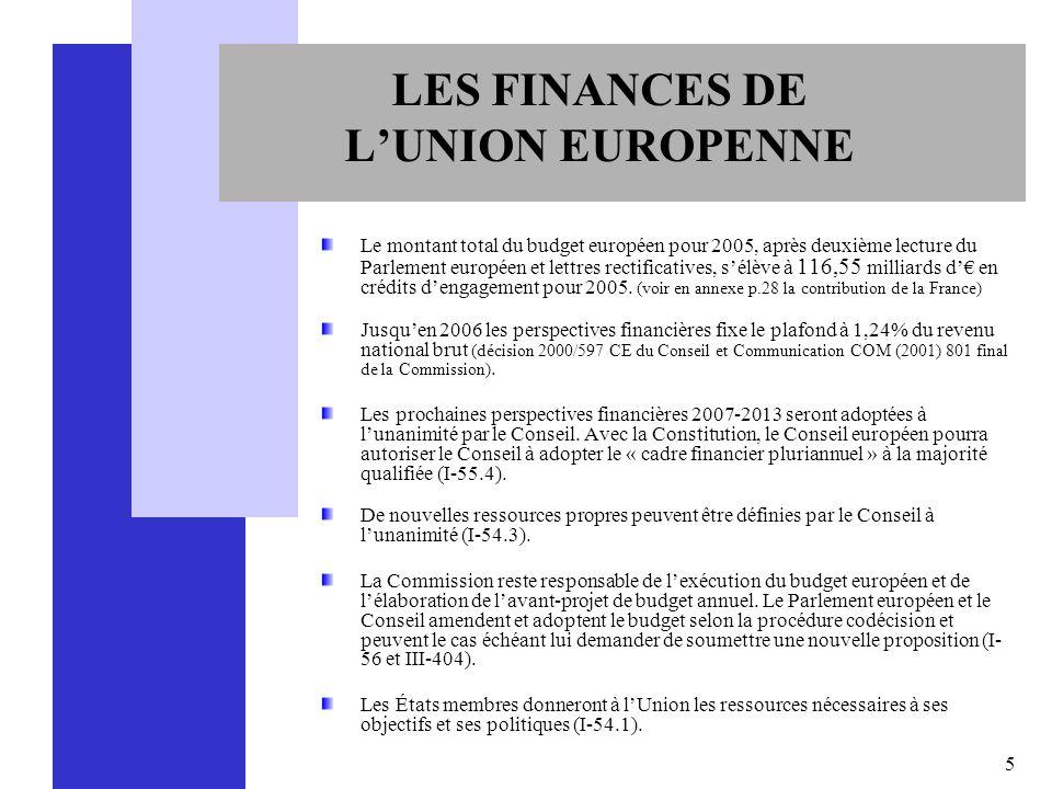 5 LES FINANCES DE LUNION EUROPENNE Le montant total du budget européen pour 2005, après deuxième lecture du Parlement européen et lettres rectificativ