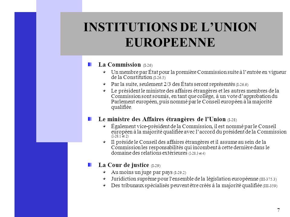 7 INSTITUTIONS DE LUNION EUROPEENNE La Commission (I-26) Un membre par État pour la première Commission suite à lentrée en vigueur de la Constitution