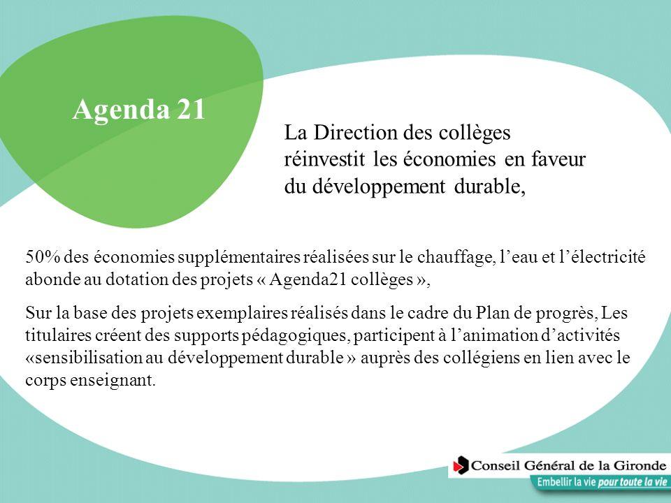 Agenda 21 50% des économies supplémentaires réalisées sur le chauffage, leau et lélectricité abonde au dotation des projets « Agenda21 collèges », Sur