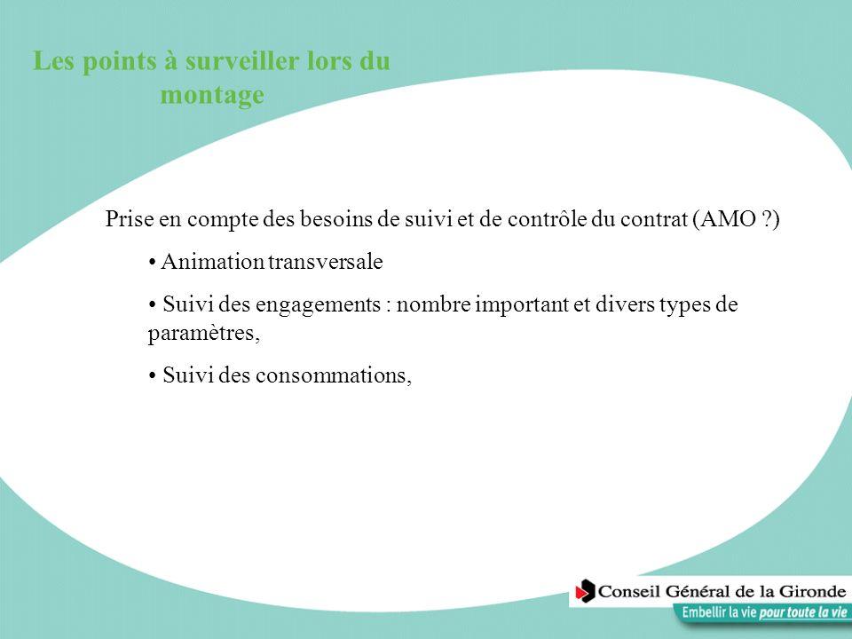 Les points à surveiller lors du montage Prise en compte des besoins de suivi et de contrôle du contrat (AMO ?) Animation transversale Suivi des engage