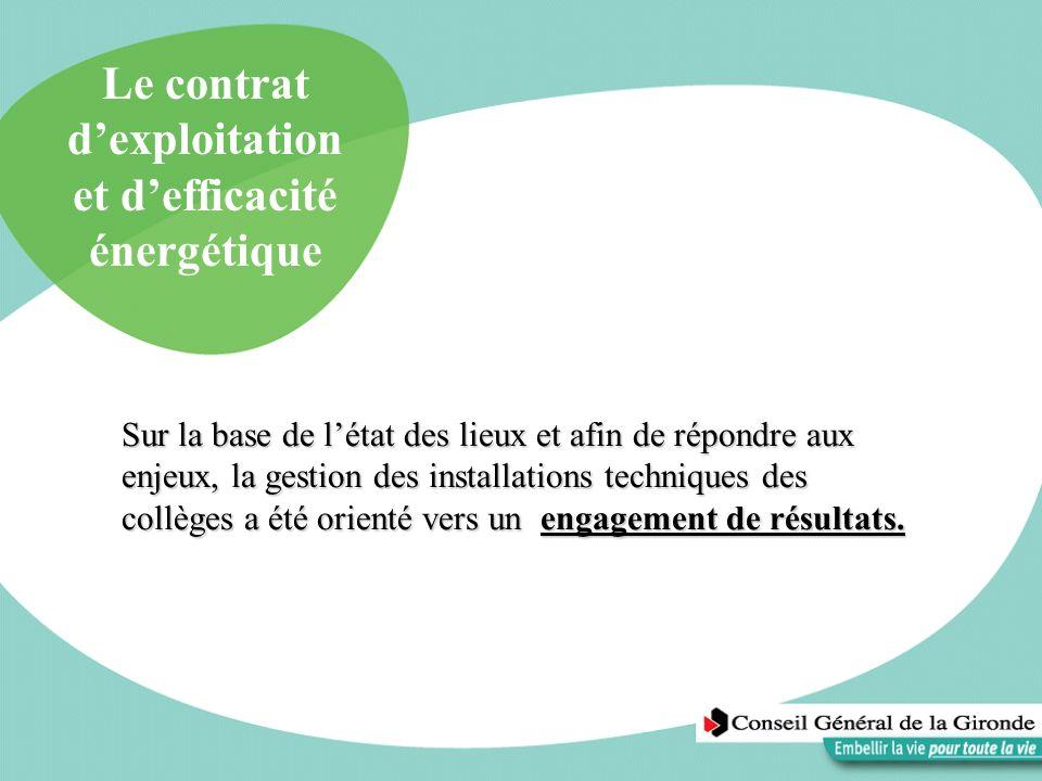 Le contrat dexploitation et defficacité énergétique Sur la base de létat des lieux et afin de répondre aux enjeux, la gestion des installations techni