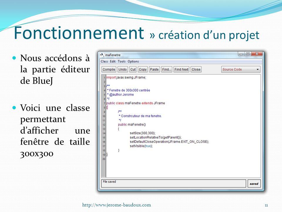 Fonctionnement » création dun projet Nous accédons à la partie éditeur de BlueJ Voici une classe permettant dafficher une fenêtre de taille 300x300 11