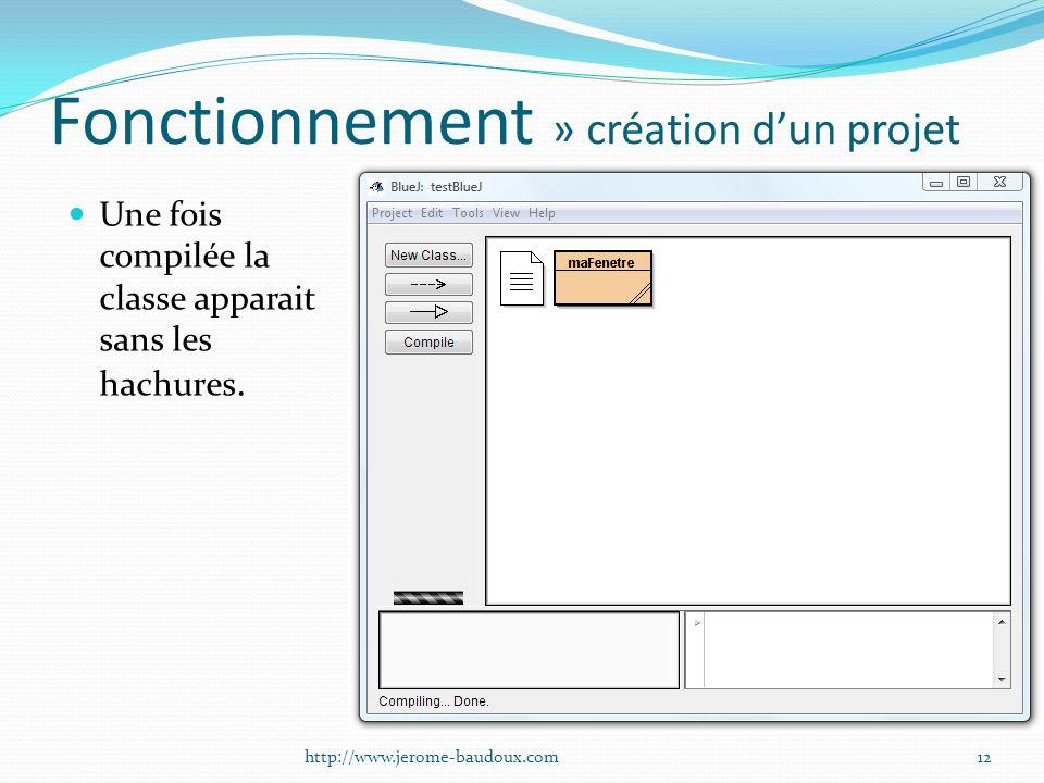 Fonctionnement » création dun projet Une fois compilée la classe apparait sans les hachures. 12http://www.jerome-baudoux.com
