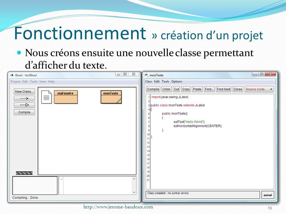 Fonctionnement » création dun projet Nous créons ensuite une nouvelle classe permettant dafficher du texte. 13http://www.jerome-baudoux.com