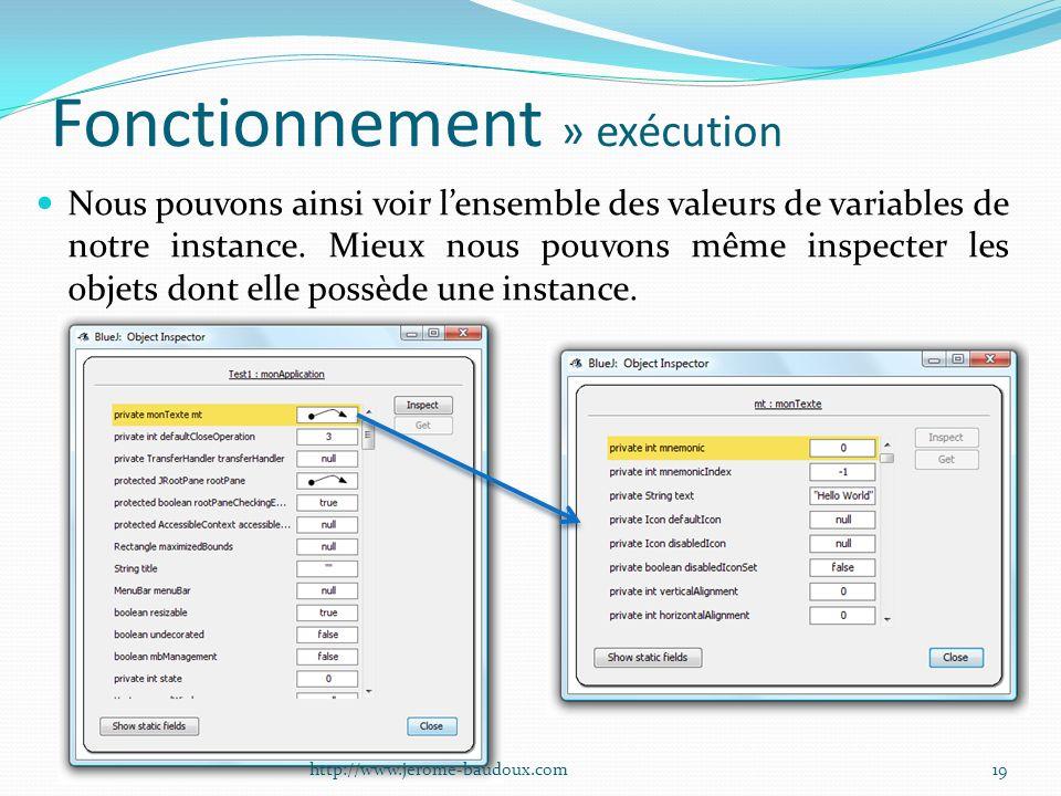 Fonctionnement » exécution Nous pouvons ainsi voir lensemble des valeurs de variables de notre instance. Mieux nous pouvons même inspecter les objets