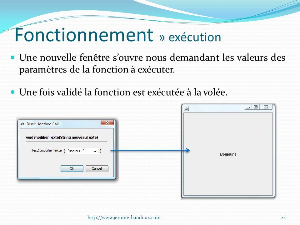 Fonctionnement » exécution Une nouvelle fenêtre souvre nous demandant les valeurs des paramètres de la fonction à exécuter. Une fois validé la fonctio