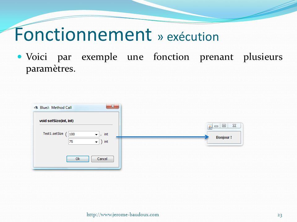 Fonctionnement » exécution Voici par exemple une fonction prenant plusieurs paramètres. 23http://www.jerome-baudoux.com