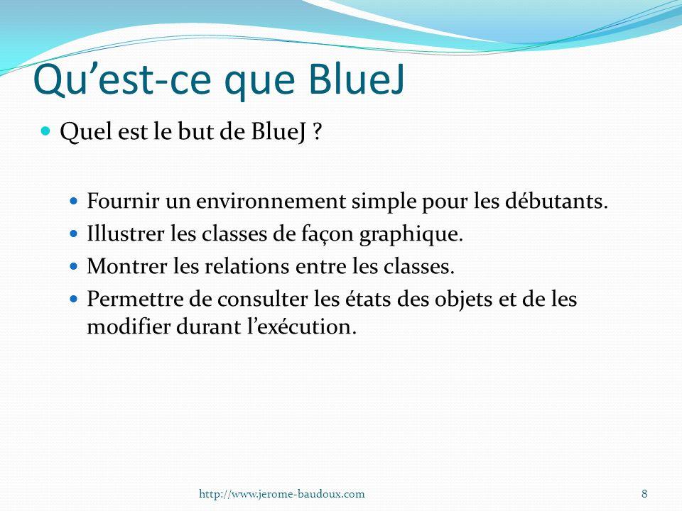 Quest-ce que BlueJ Quel est le but de BlueJ ? Fournir un environnement simple pour les débutants. Illustrer les classes de façon graphique. Montrer le