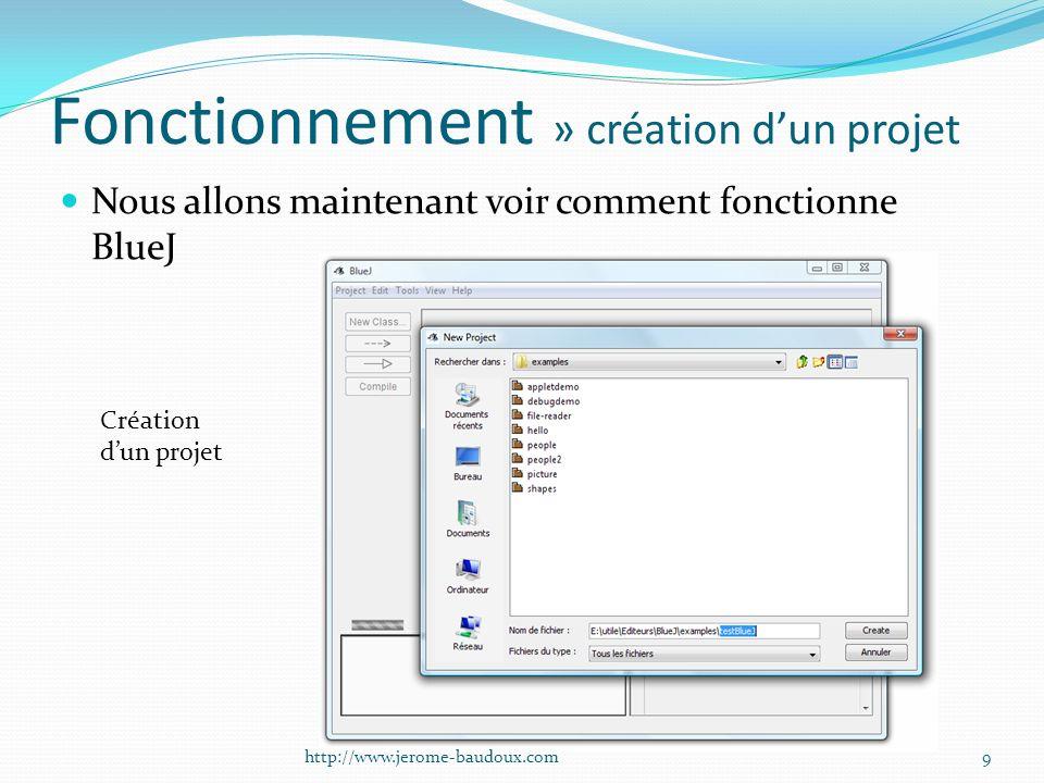 Fonctionnement » création dun projet Nous allons maintenant voir comment fonctionne BlueJ Création dun projet 9http://www.jerome-baudoux.com