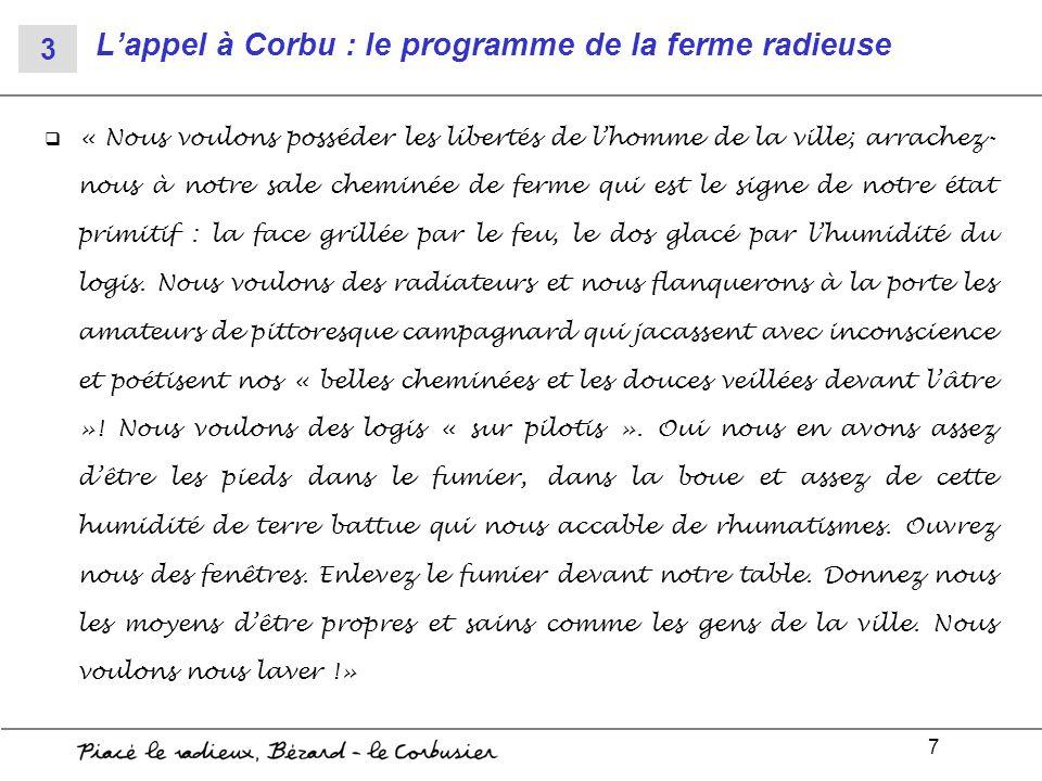 7 Lappel à Corbu : le programme de la ferme radieuse « Nous voulons posséder les libertés de lhomme de la ville; arrachez- nous à notre sale cheminée