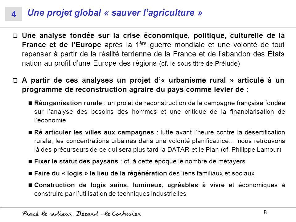 8 Une projet global « sauver lagriculture » Une analyse fondée sur la crise économique, politique, culturelle de la France et de lEurope après la 1 èr