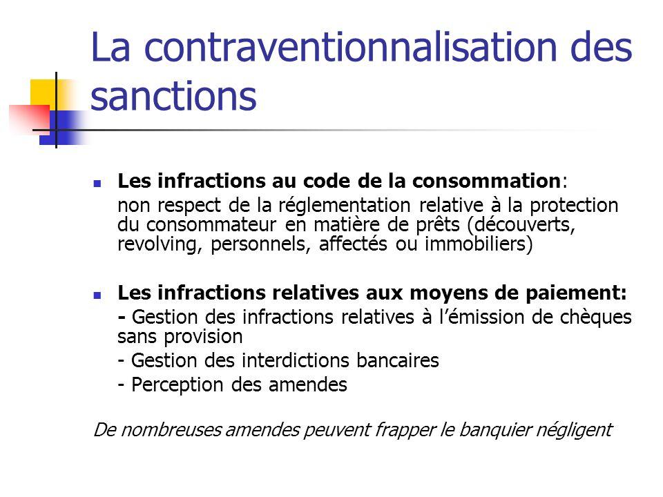 La contraventionnalisation des sanctions Les infractions au code de la consommation: non respect de la réglementation relative à la protection du cons