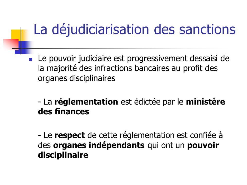 La déjudiciarisation des sanctions Le pouvoir judiciaire est progressivement dessaisi de la majorité des infractions bancaires au profit des organes d