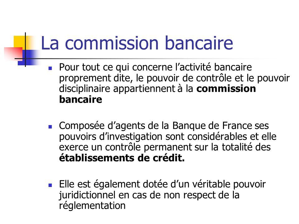 La commission bancaire Pour tout ce qui concerne lactivité bancaire proprement dite, le pouvoir de contrôle et le pouvoir disciplinaire appartiennent