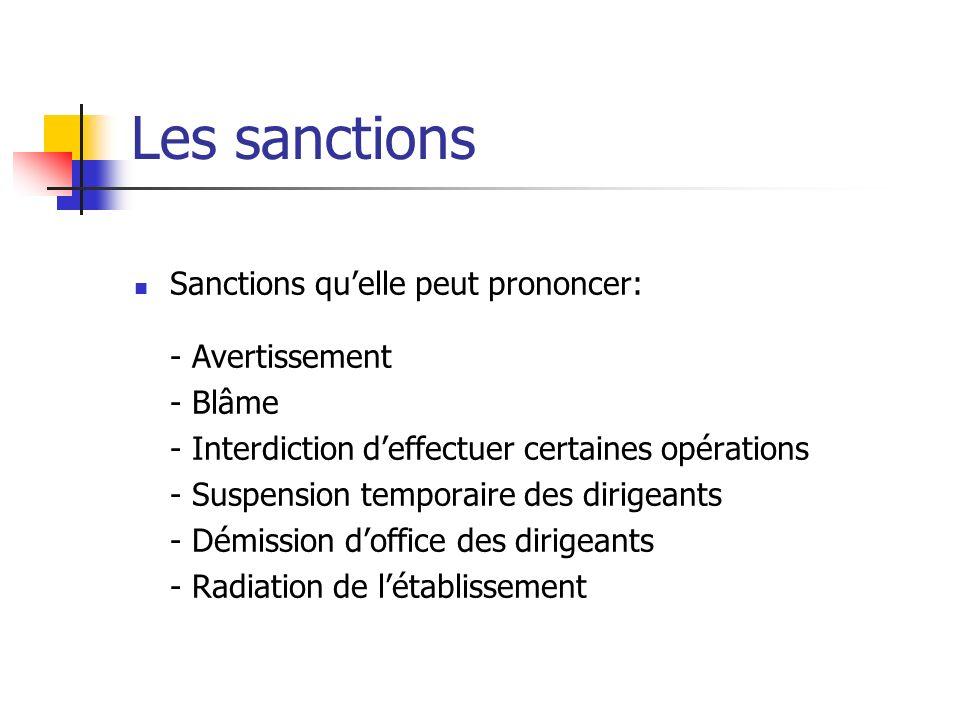 Les sanctions Sanctions quelle peut prononcer: - Avertissement - Blâme - Interdiction deffectuer certaines opérations - Suspension temporaire des diri