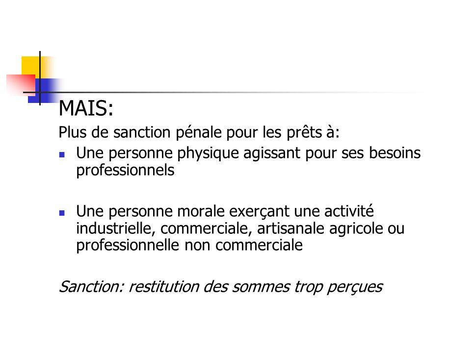 MAIS: Plus de sanction pénale pour les prêts à: Une personne physique agissant pour ses besoins professionnels Une personne morale exerçant une activi