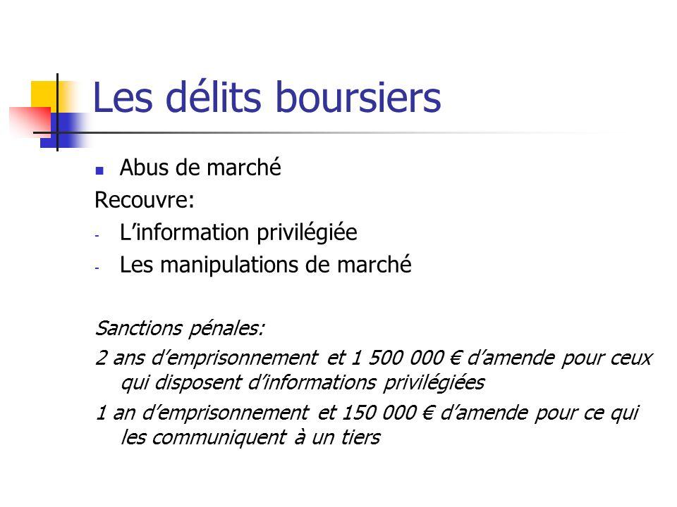 Les délits boursiers Abus de marché Recouvre: - Linformation privilégiée - Les manipulations de marché Sanctions pénales: 2 ans demprisonnement et 1 5