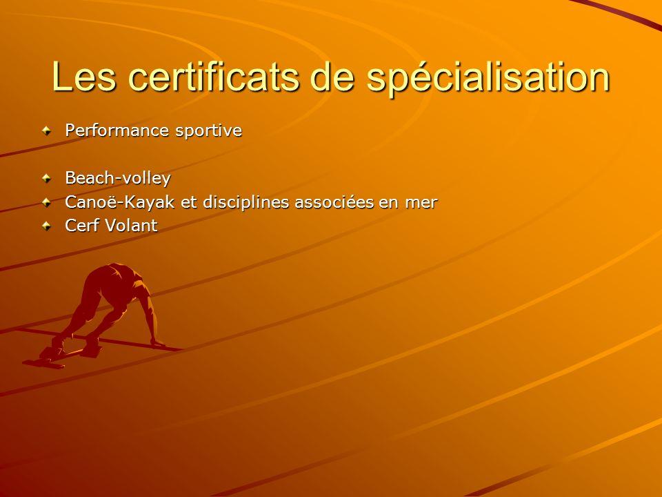 Les certificats de spécialisation Performance sportive Beach-volley Canoë-Kayak et disciplines associées en mer Cerf Volant