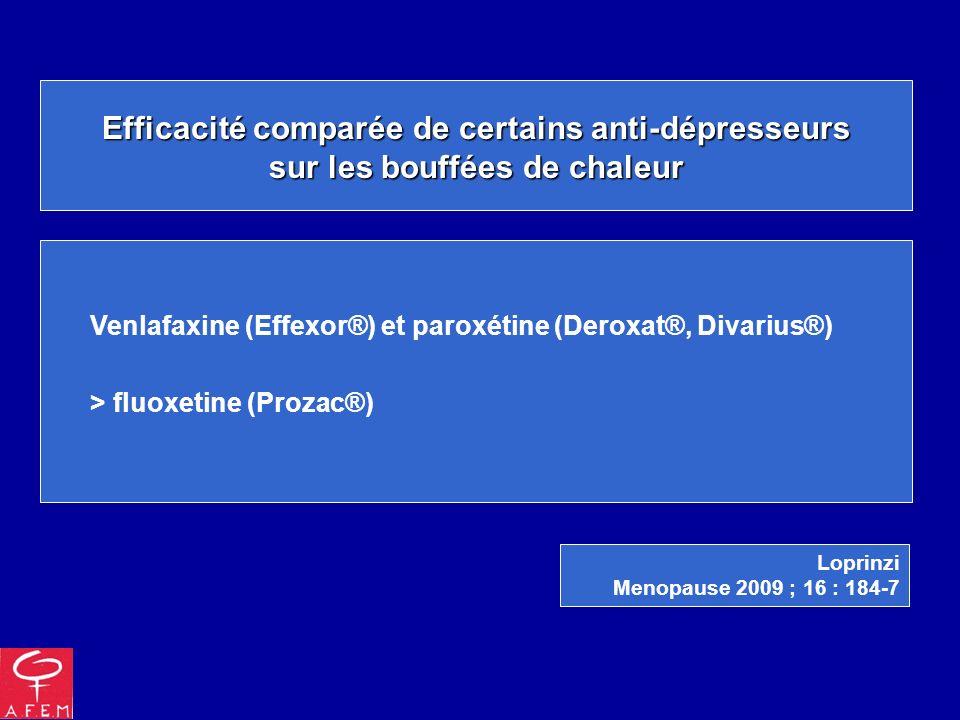 Efficacité comparée de certains anti-dépresseurs sur les bouffées de chaleur Venlafaxine (Effexor®) et paroxétine (Deroxat®, Divarius®) > fluoxetine (