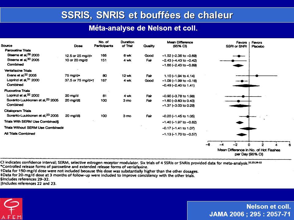 SSRIS, SNRIS et bouffées de chaleur Nelson et coll. JAMA 2006 ; 295 : 2057-71 Méta-analyse de Nelson et coll.