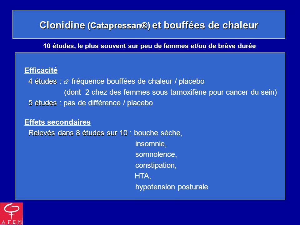 Clonidine (Catapressan®) et bouffées de chaleur Efficacité 4 études 4 études : fréquence bouffées de chaleur / placebo (dont 2 chez des femmes sous ta