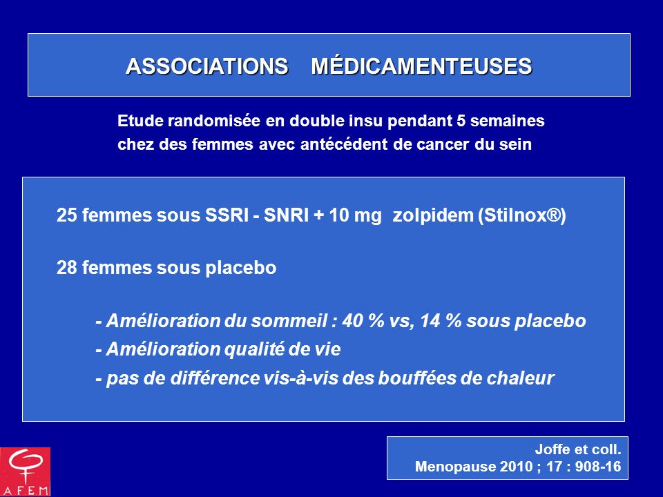 ASSOCIATIONS MÉDICAMENTEUSES 25 femmes sous SSRI - SNRI + 10 mg zolpidem (Stilnox®) 28 femmes sous placebo - Amélioration du sommeil : 40 % vs, 14 % s
