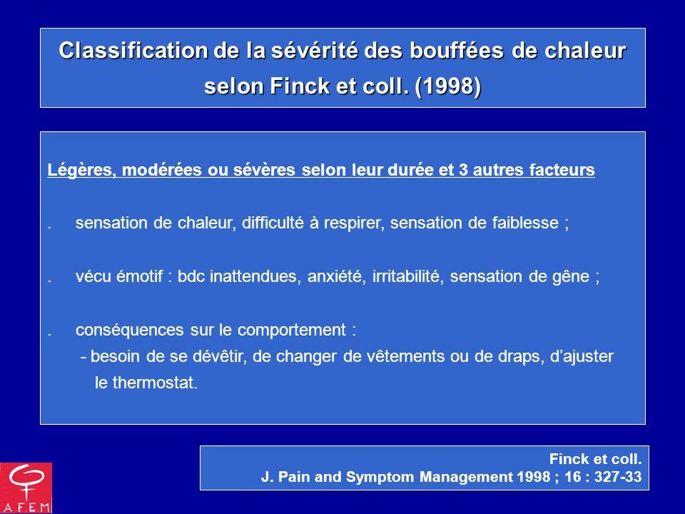 Classification de la sévérité des bouffées de chaleur selon Finck et coll. (1998) Finck et coll. J. Pain and Symptom Management 1998 ; 16 : 327-33 Lég