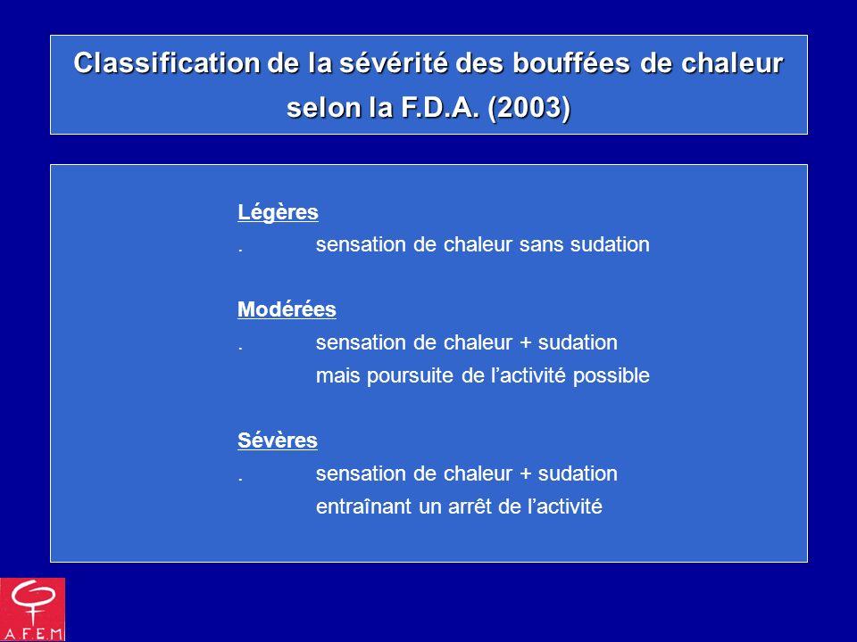 Classification de la sévérité des bouffées de chaleur selon la F.D.A. (2003) Légères.sensation de chaleur sans sudation Modérées.sensation de chaleur