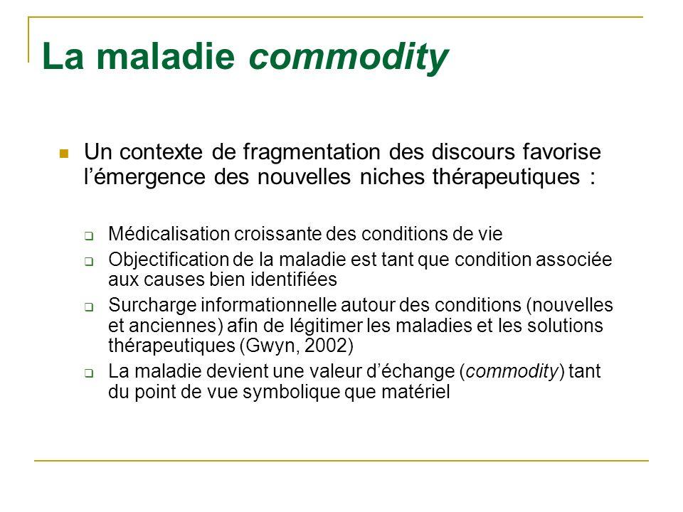 La maladie commodity Un contexte de fragmentation des discours favorise lémergence des nouvelles niches thérapeutiques : Médicalisation croissante des