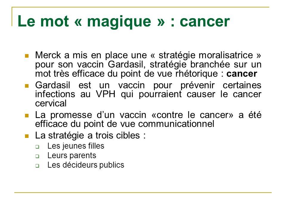 Le mot « magique » : cancer Merck a mis en place une « stratégie moralisatrice » pour son vaccin Gardasil, stratégie branchée sur un mot très efficace