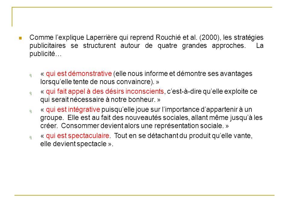 Comme lexplique Laperrière qui reprend Rouchié et al. (2000), les stratégies publicitaires se structurent autour de quatre grandes approches. La publi