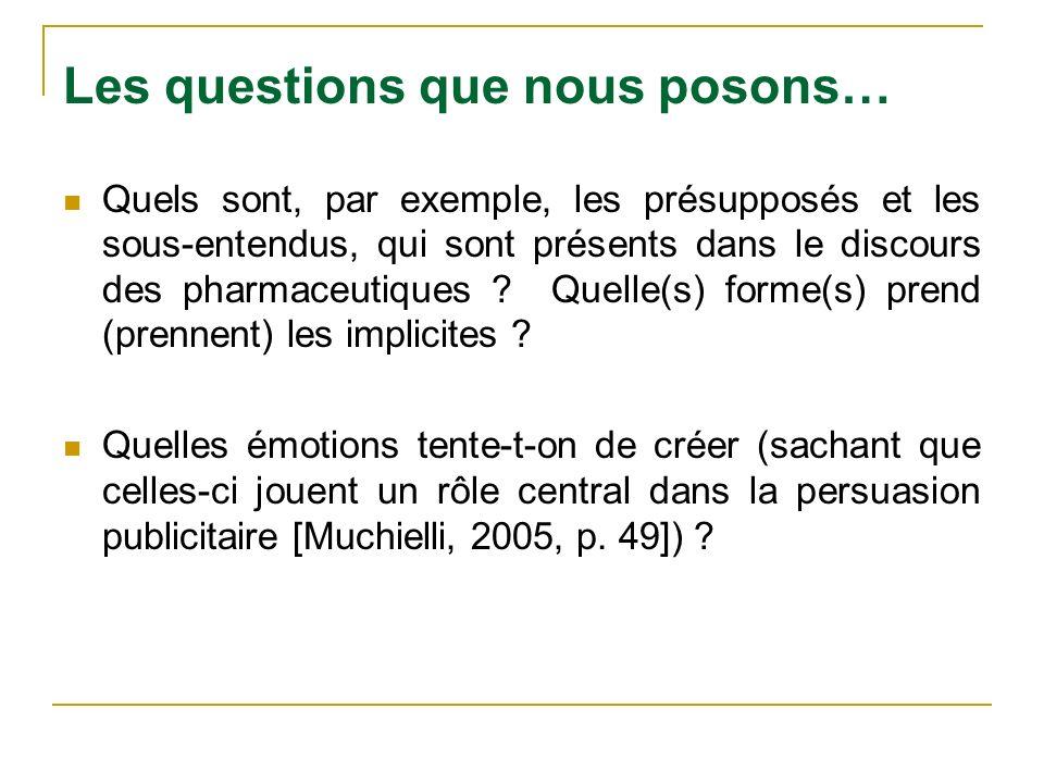 Les questions que nous posons… Quels sont, par exemple, les présupposés et les sous-entendus, qui sont présents dans le discours des pharmaceutiques ?