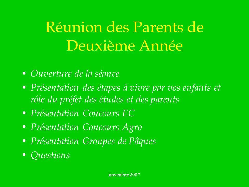 novembre 2007 Réunion des Parents de Deuxième Année Ouverture de la séance Présentation des étapes à vivre par vos enfants et rôle du préfet des étude